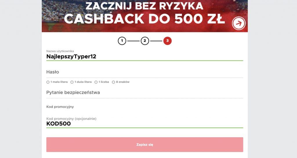 """""""KOD500"""" specjalna premia na start w BetClic! Cashback - zakład bez ryzyka!"""