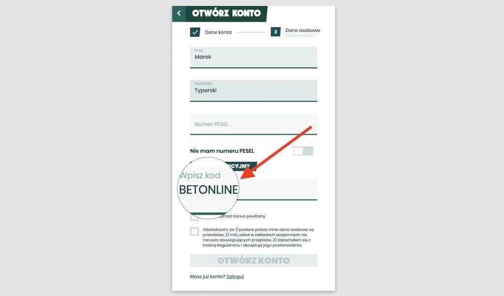 Betfan kod bonusowy